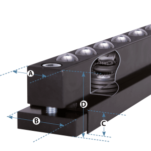 housed ball transfer rail t-bar-b